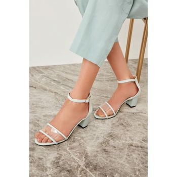 Mint Transparent Detailed Women's Heeled Shoes TAKSS19CS0026
