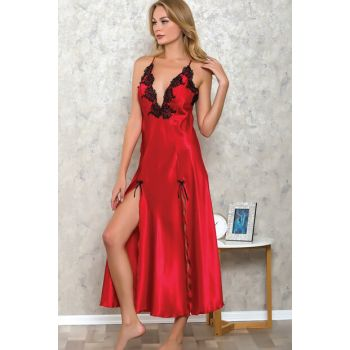 Women's Red Satin Lace Laced Long Slit Nightgown LB9505 MLB9505