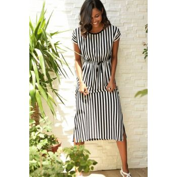 Women Black / White Short Sleeve Striped Max Length Slit Dress ALC-Y2128