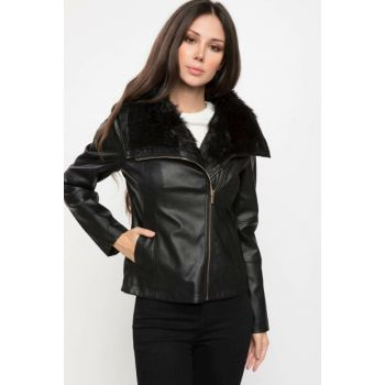 Women Artificial Fur Detail Leather Jacket I8681AZ.18WN.BK27