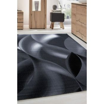 Modern patterned Carpet Geometric wavy design Black Gray White PLUS8008BLACK