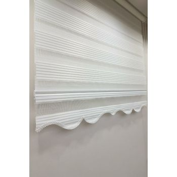 130 x 200 Pleated Roller Blind Zebra Curtain White MZ480 8605480588858