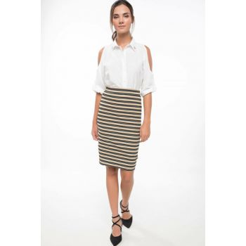 Women Striped Pencil Skirt
