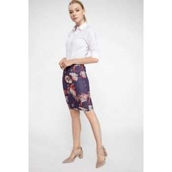 Women's Purple Floral Patterned Skirt J8788AZ.18AU.PR231