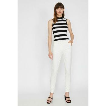 Women's White Straight Trousers, Trousers