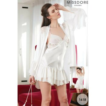 Women's Ecru Nightgown with Dressing Gown MSD-1618