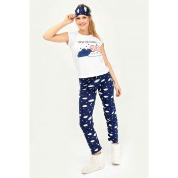 Women's Navy Blue Im In The Clouds Printed Suit D4242T