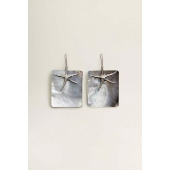 Women's Silver Color Sea Shell Shaped Earring 53070887
