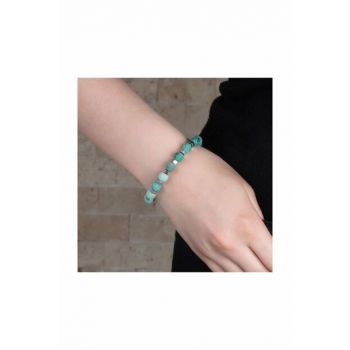 Special Box Gifted Globe Cut Moire Green Agate-Hematite Natural Stone Women Bangle 104000580