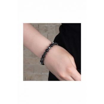 Special Box Gifted Globe Cut Hematite-Onyx Natural Stone Women Bangle 104000604