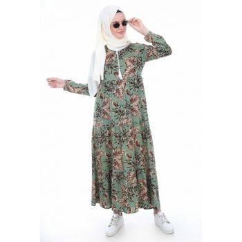 Women Leaf Pattern Khaki Collar Lace Hijab Dress 1627BGD19_286