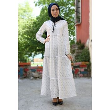 Women's Anchor White Collar Lace Hijab Dress 1627BGD19_246