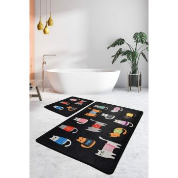 60x100 - 50x60 Black Cats Digital Set of 2 Li Bath Mat, Doormat 8682125929026