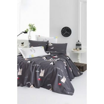 100% Natural Cotton Single Pique Bedspread Papic Anthracite Ep-020207