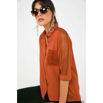 Women's Pocket And Sleeve Guipure Detailed Crepe Shirt Tile S-19Y3650001