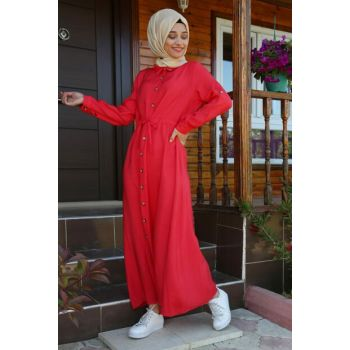 Women's Red Neck Buttoned Waist Rope Lashing Hijab Dress 1668BGD19_006