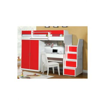 Daring Bunk Bed Cabinet Desk red 116