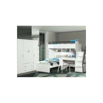 Bueno Bunk Bed Couch Desk 4 doors wardrobe white 150