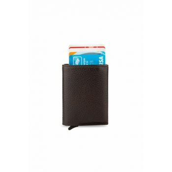 Men's Automatic Mechanism Smart Card Wallet Brown 5237TEK