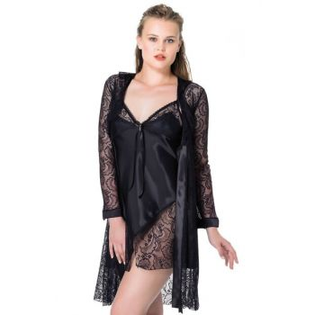 Women's Black Nightgown Dressing Gown NBB 3928