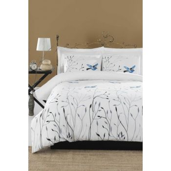 100% Natural Cotton Double Duvet Cover Set Fidella Blue Ep-018866