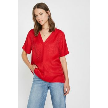 Women's Red V Neck Blouse 9YAK68314PW