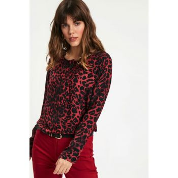 Women's Red Printed Blouse 8WN180Z8