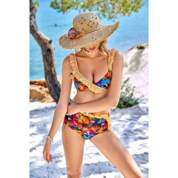 Women's Patterned Frilly Triangle Bikini Set 00-1413-1441