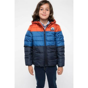Indigo Blue Young Boys Color Blocked Inflatable Coats J1277A6.18AU.IN184