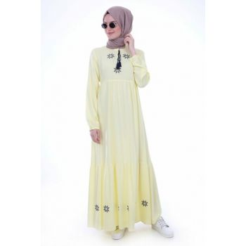 Women's Yellow Neck Tie Embroidered Dress 1685BGD19_017