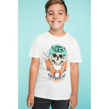 White Young Men's Printed T-Shirt K2248A6.18AU.WT34