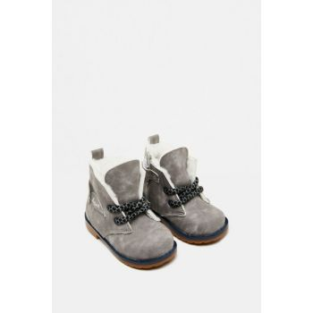 Gray Baby Boy Faux Fur Detailed Boots 9KMB22077OA