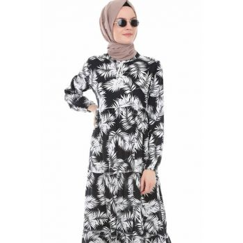 Women's Printed Black Collar Lace Hijab Dress 1627BGD19_089
