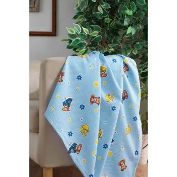 100% Cotton Baby Blanket Blue Bear 153-99-000009