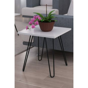 Helen Side Table with Metal Legs White 8681506224729