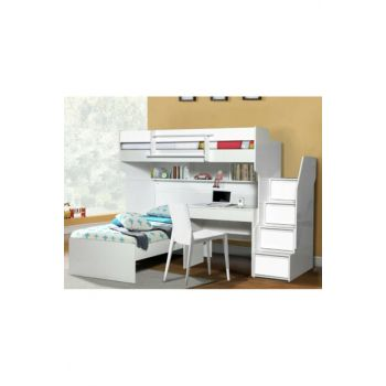 Bold Bunk Bed Bed Desk White 115