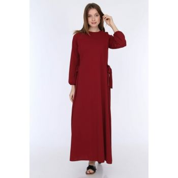 Women's Burgundy Side Tied Dress 5261