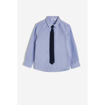 Blue Kid's Classic Collar Shirt 0KKB66165TW
