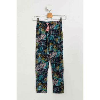 Navy Blue Girls Floral Chino Trousers K5037A6.19SM.BE458