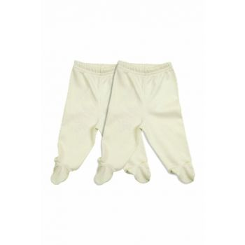 Ecru-Pink Baby Girl Trousers K-JAL68