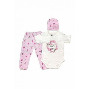 Rose Stone 3-Piece Baby Set with Hat K2169