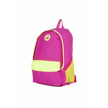 Benetton Purple-Yellow Backpack / School Bag (Two Compartments) - Hakan 96066 HKN96066