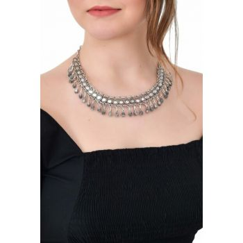 Women's Antique Silver Plated Choker Necklace LBKDNAGKKLY7024