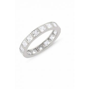 Women's Silver 925 Sterling Baguette Sterling Silver Ring R86405