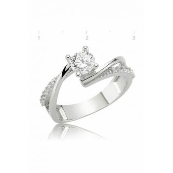 Women's Silver Single Stone Ring 2924
