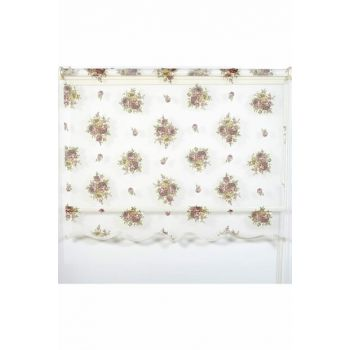 250x260 Double Mechanism Burgundy Rose Pattern Tulle Roller Blinds A1003986