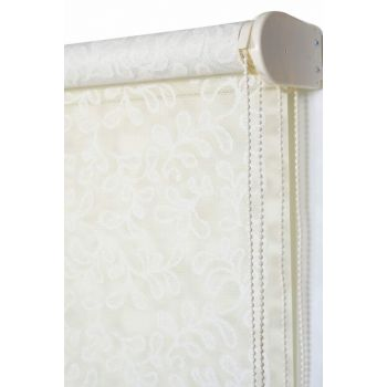 190x260 Double Mechanism Broken White Silvery Clover Pattern Tulle Roller Blinds A1003941