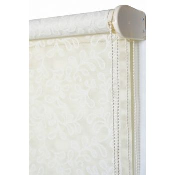 200x260 Double Mechanism Broken White Silvery Clover Pattern Tulle Roller Blinds A1003942