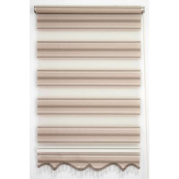 200X200 Tengo Zebra Curtain Balm Brown Pleated Silvery Skirt Beaded Roller Blinds 200X200-EV-BV-SAG-001MLS-03