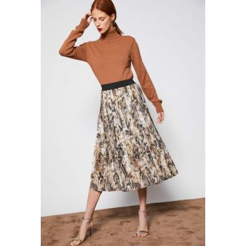 Women's Coffee Patterned Skirt 9KAF70308OW